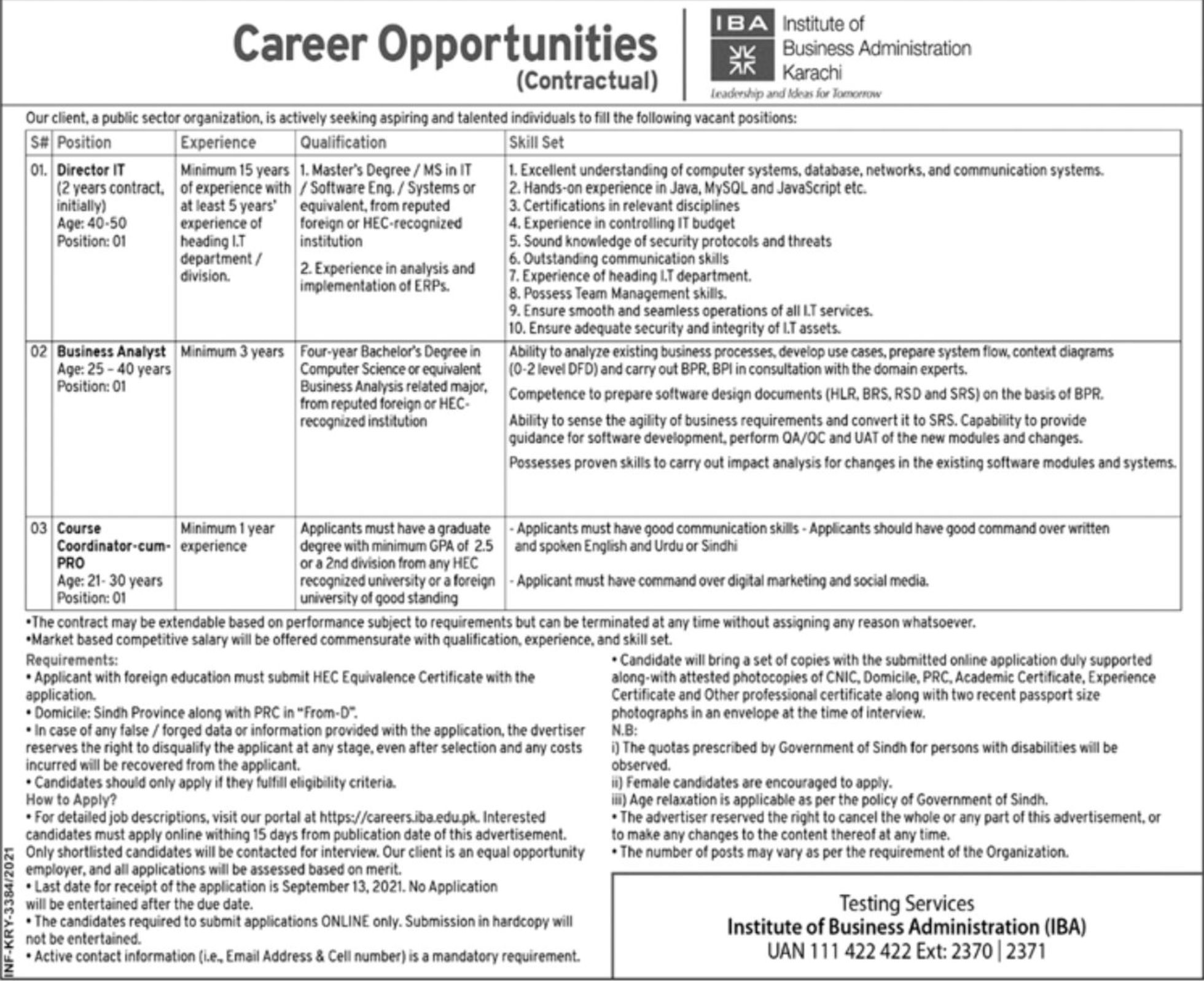 Pubic Sector Organization IBA Karachi Vacancies 2021 3