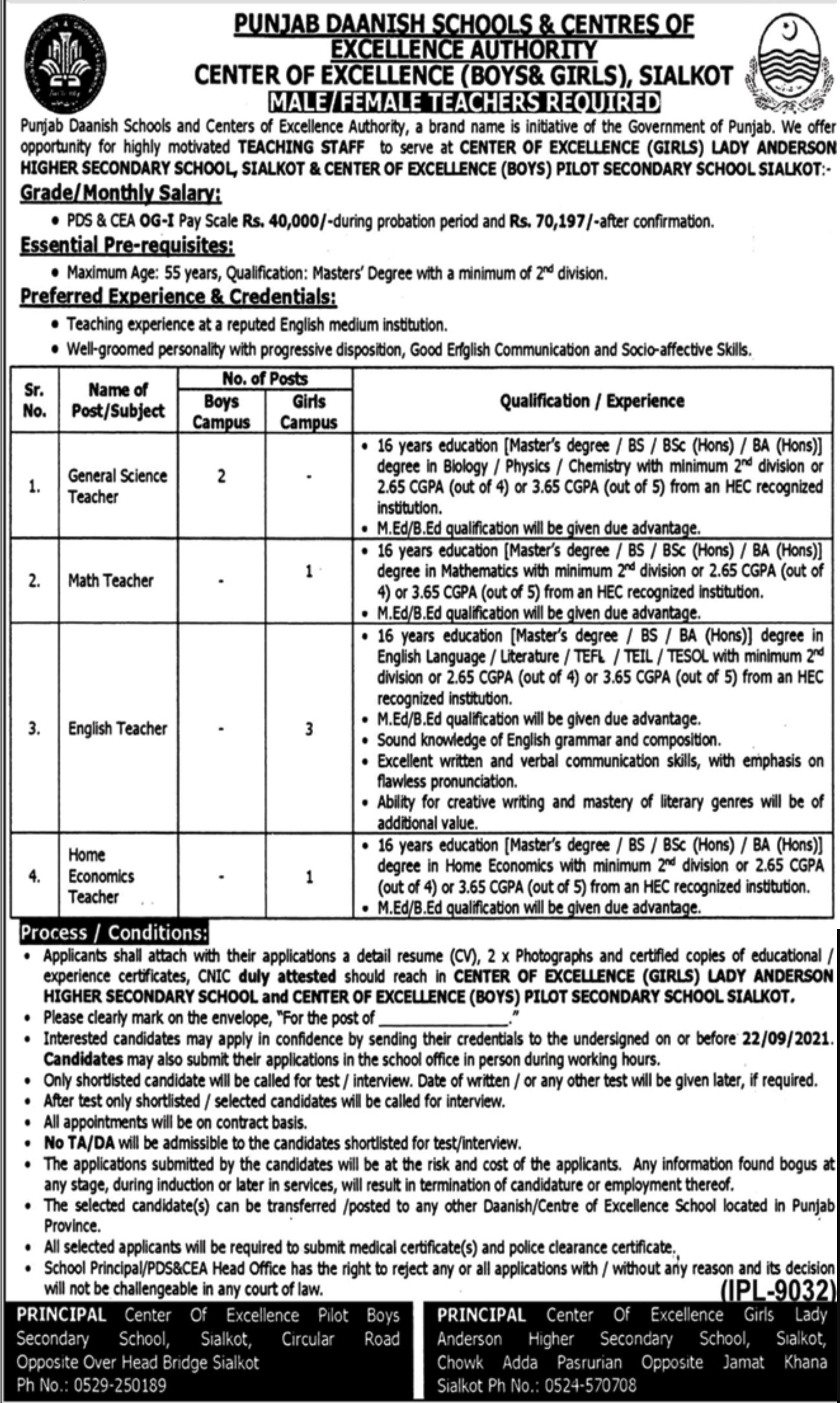 Punjab Daanish Schools & Centres of Excellence Authority Jobs 2021 3