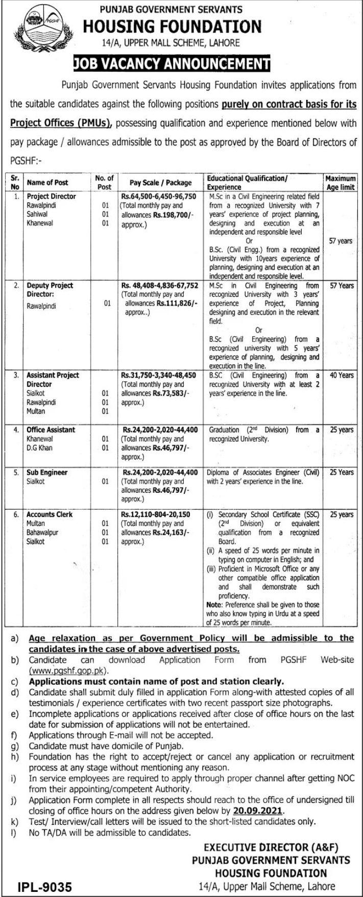 Punjab Government Servants Housing Foundation Vacancies 2021 3
