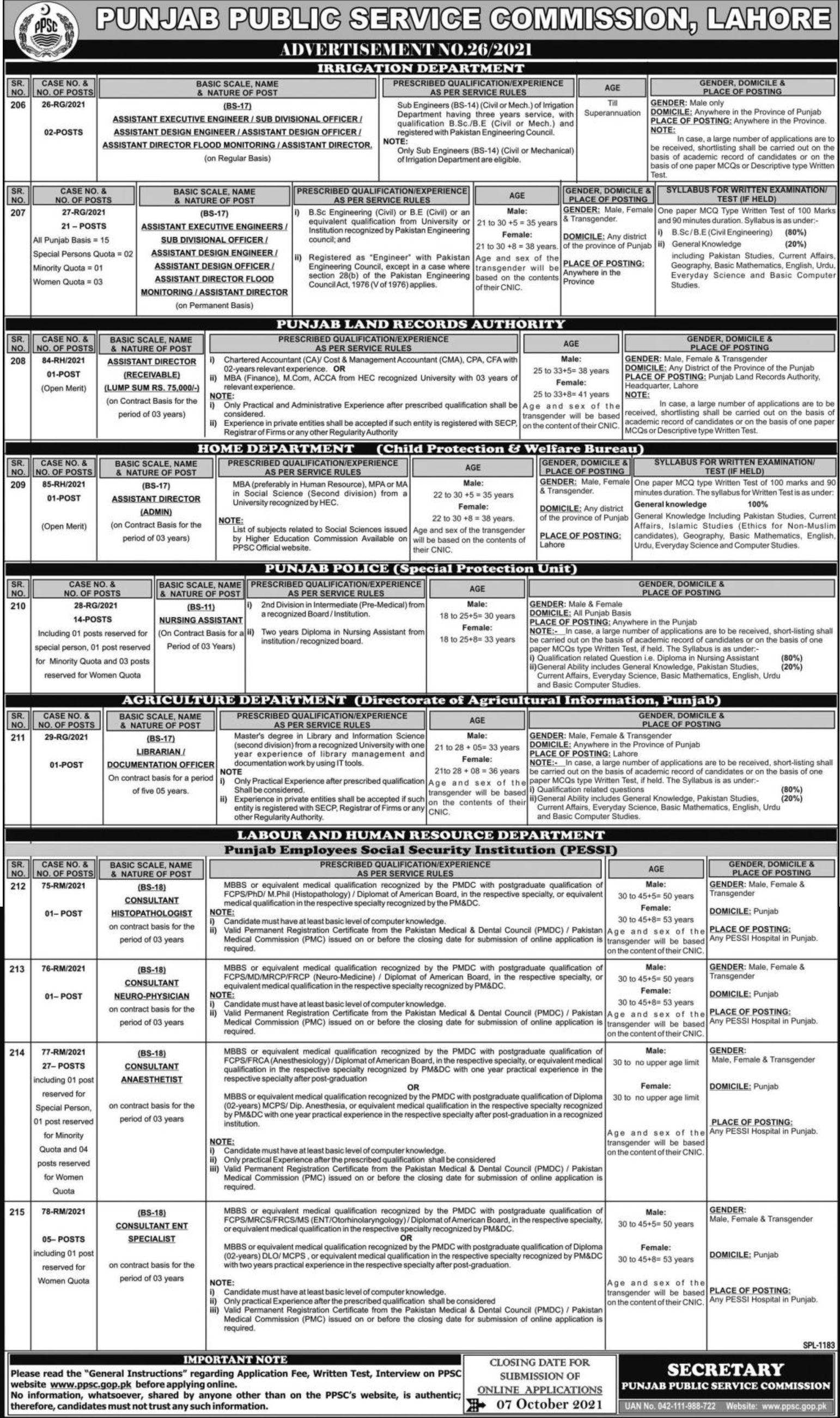 Punjab Public Service Commission (PPSC) Lahore Vacancies 2021 – Latest Jobs 3
