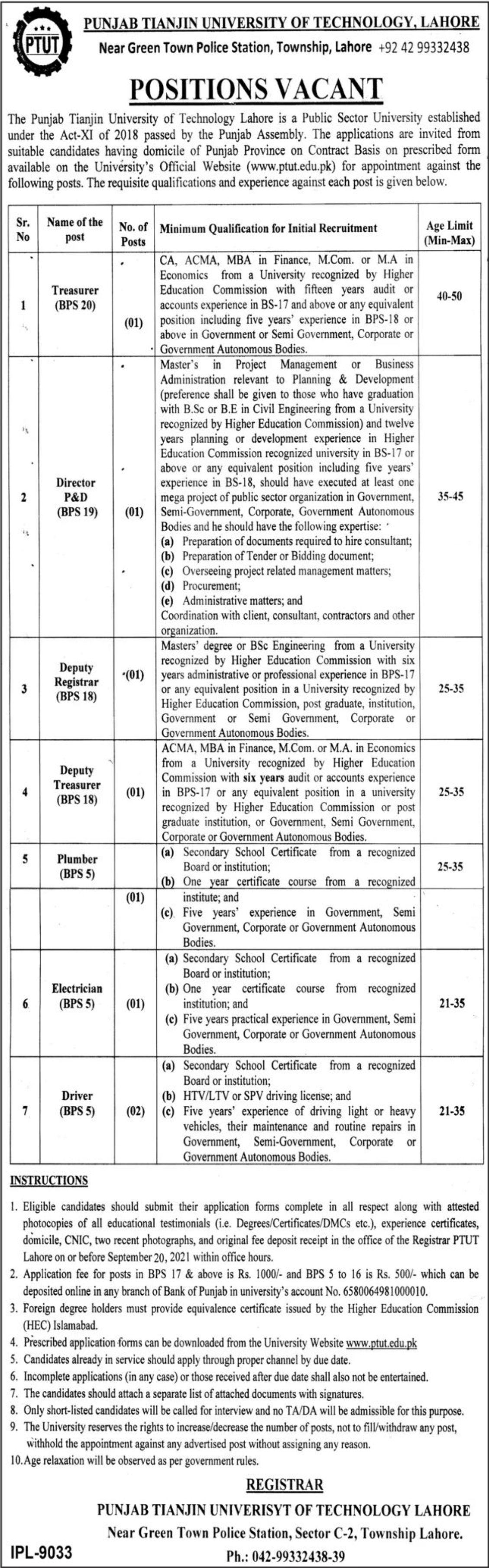 Punjab Tianjin University of Technology Lahore Vacancies 2021 3