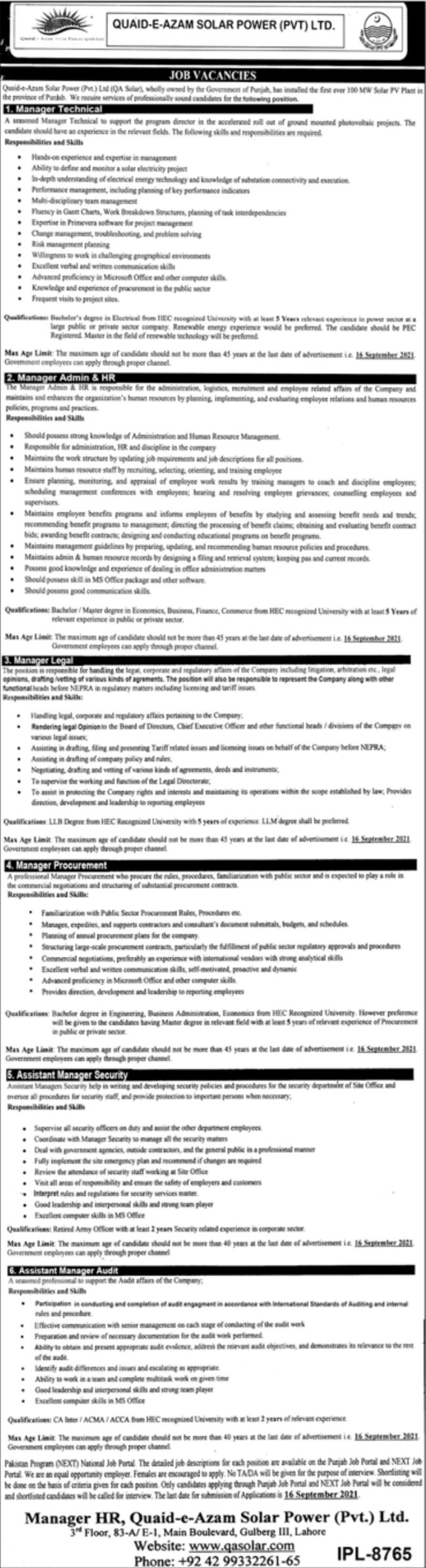 Quaid-e-Azam Solar Power Pvt Ltd Vacancies 2021 3