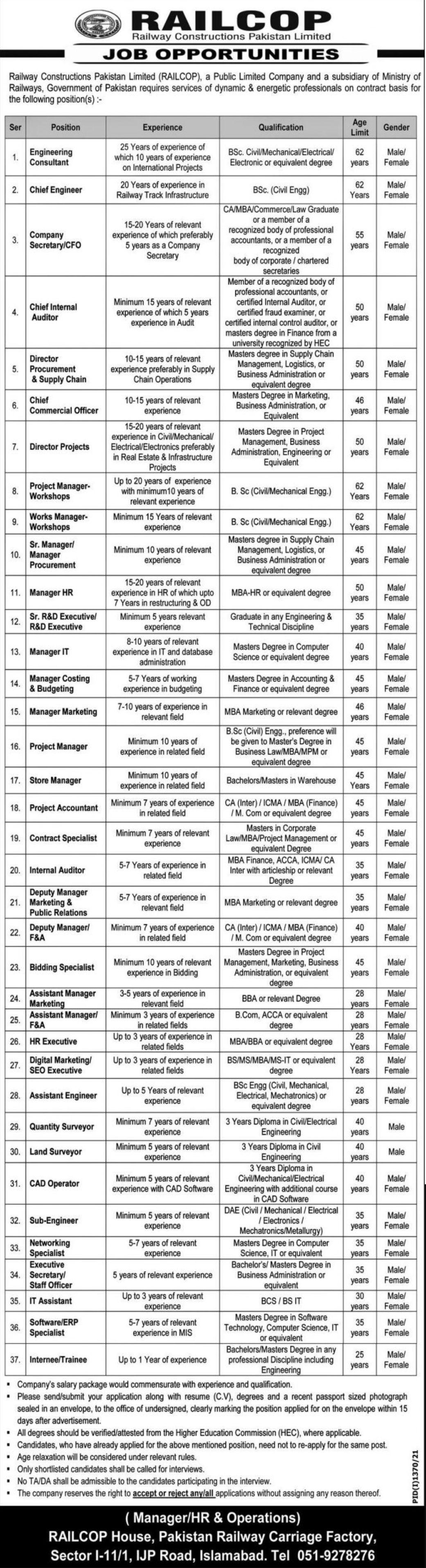 Railway Constructions Pakistan Limited RAILCOP Vacancies 2021 3
