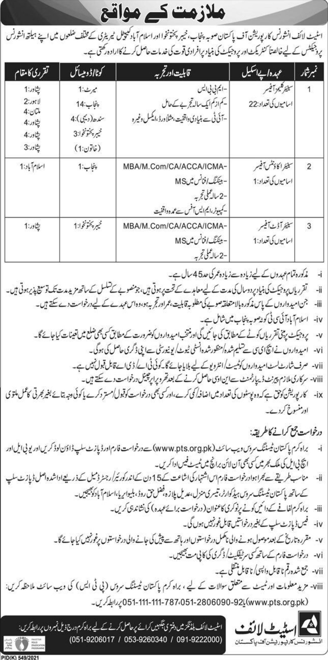 State Life Insurance Corporation of Pakistan Vacancies 2021 3