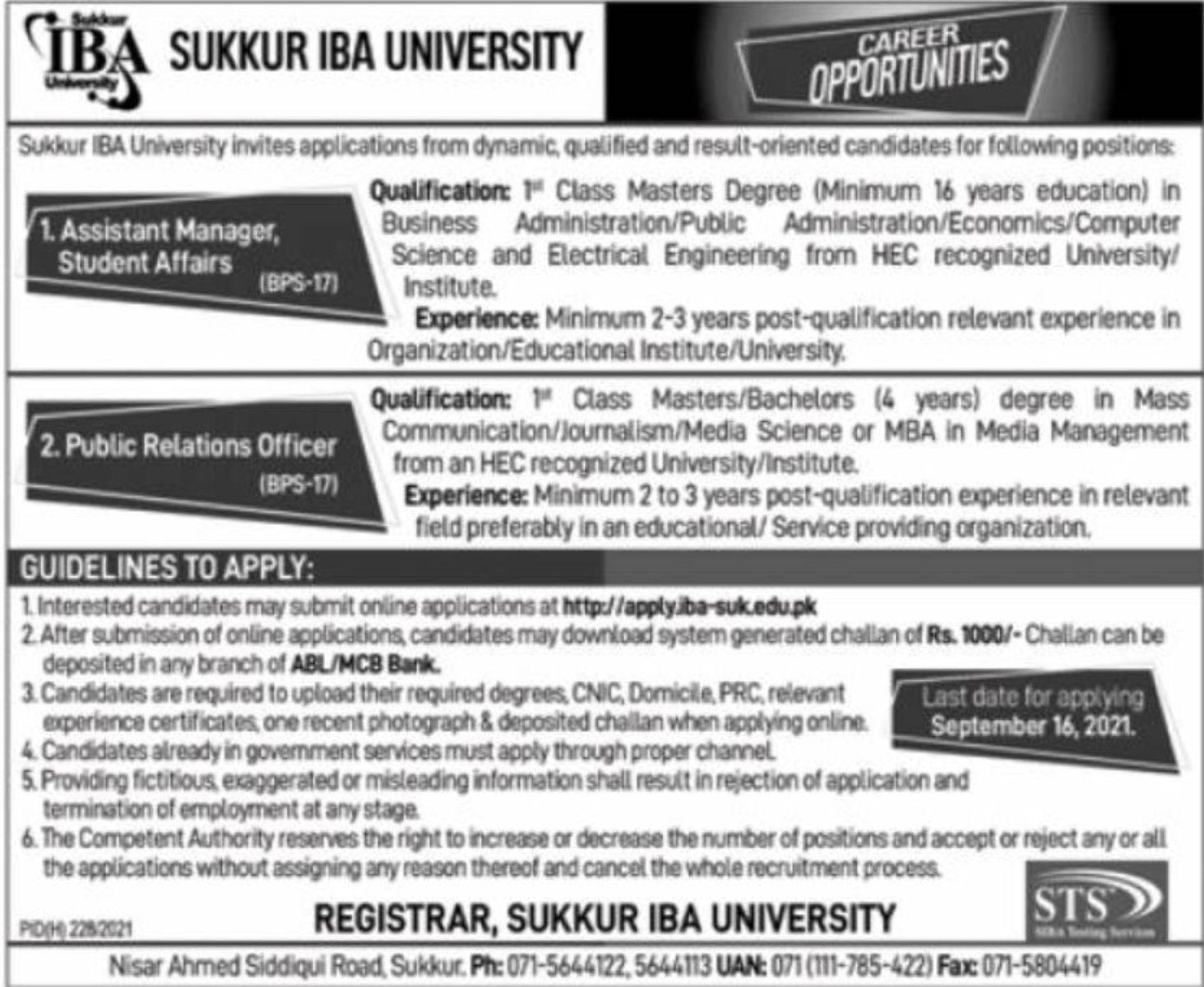 Sukkur IBA University Vacancies 2021 3