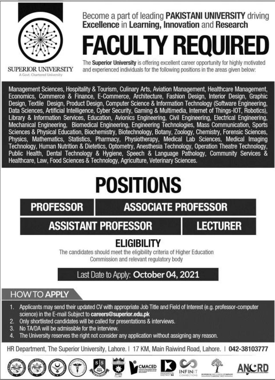Superior University Vacancies 2021 – Latest Jobs 3
