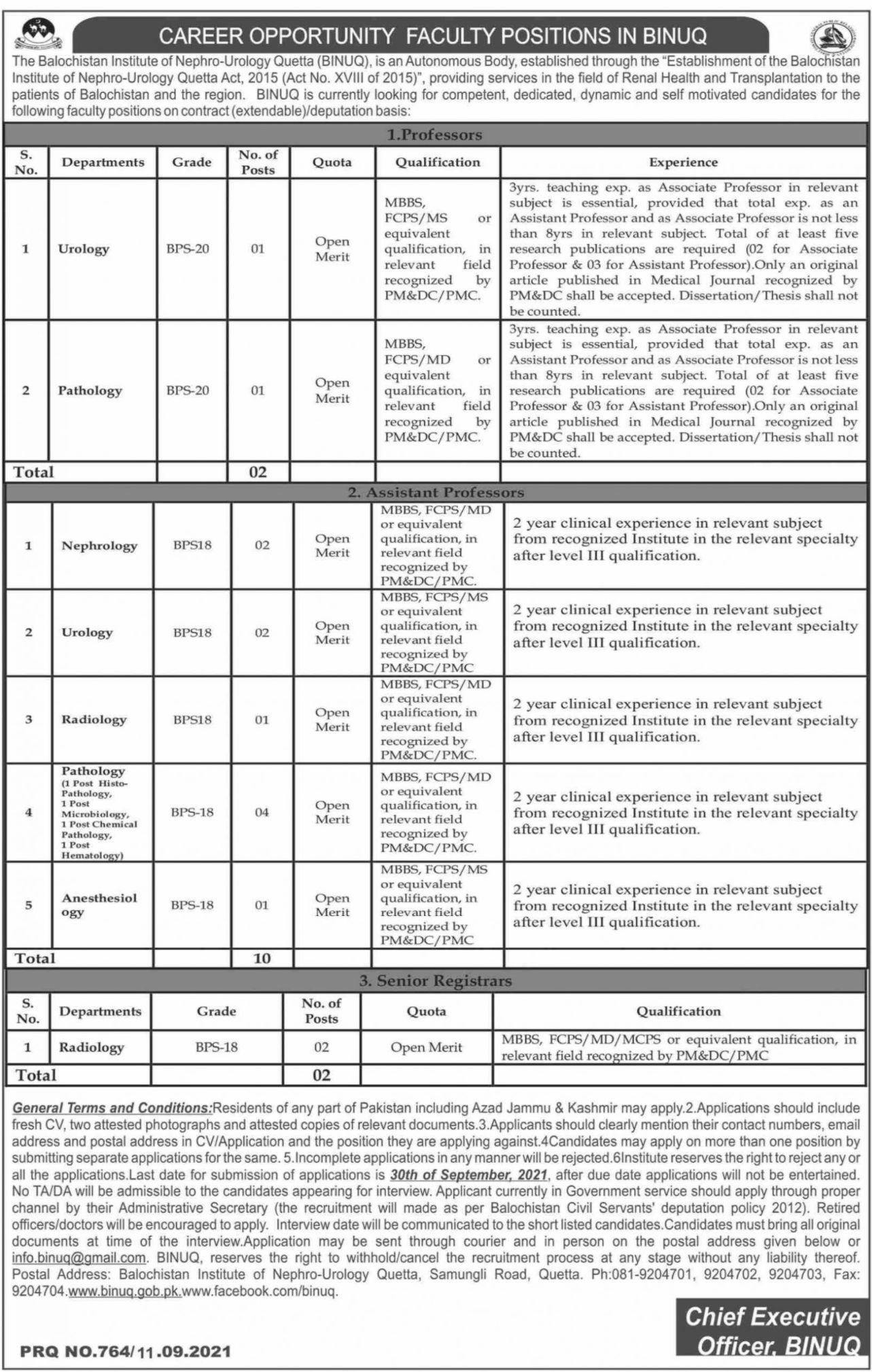 The Balochistan Institute of Nephro Urology Quetta BINUQ Vacancies 2021 – Dailyjobs.pk 3