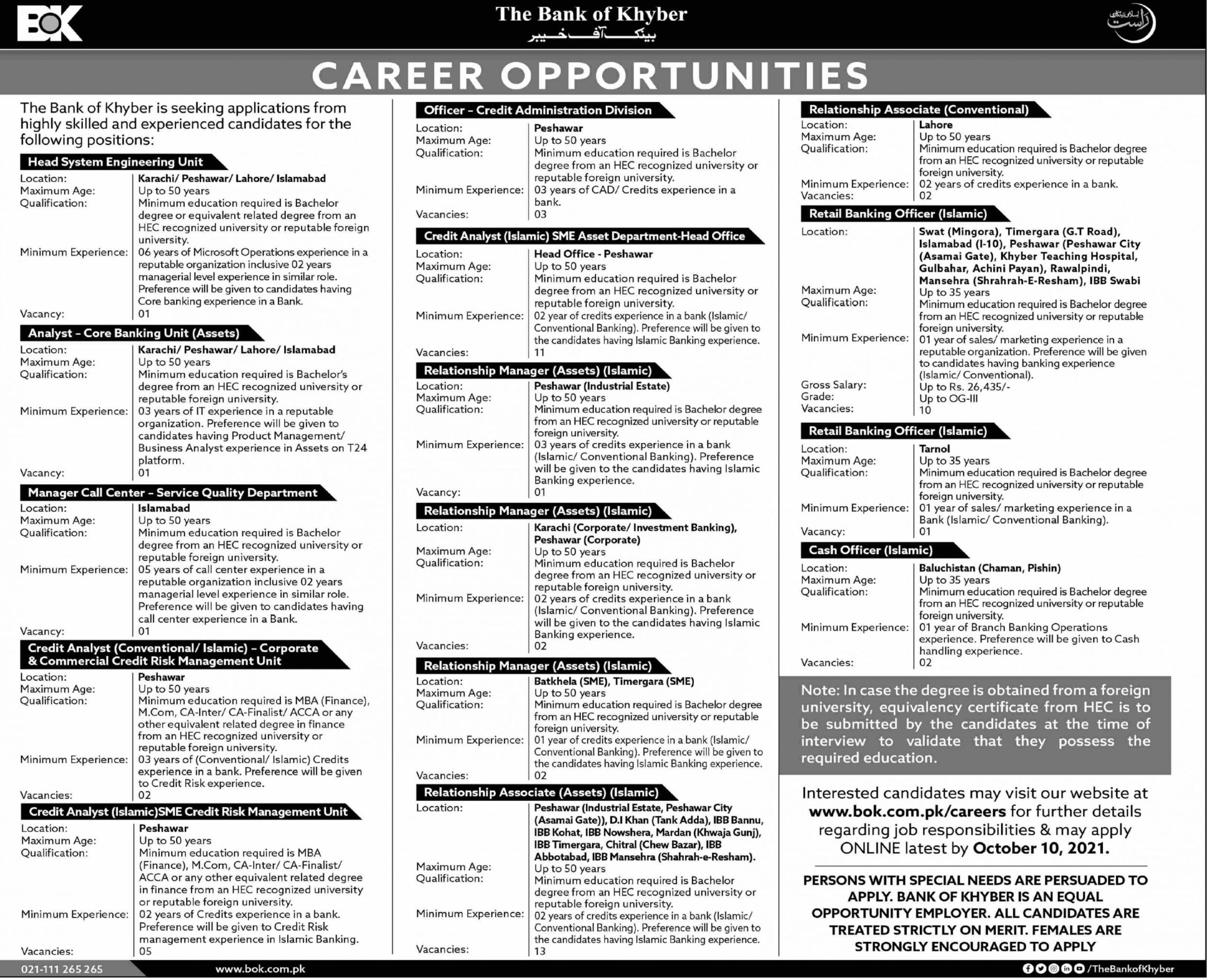 The Bank of Khyber Vacancies 2021 – Latest Jobs 3