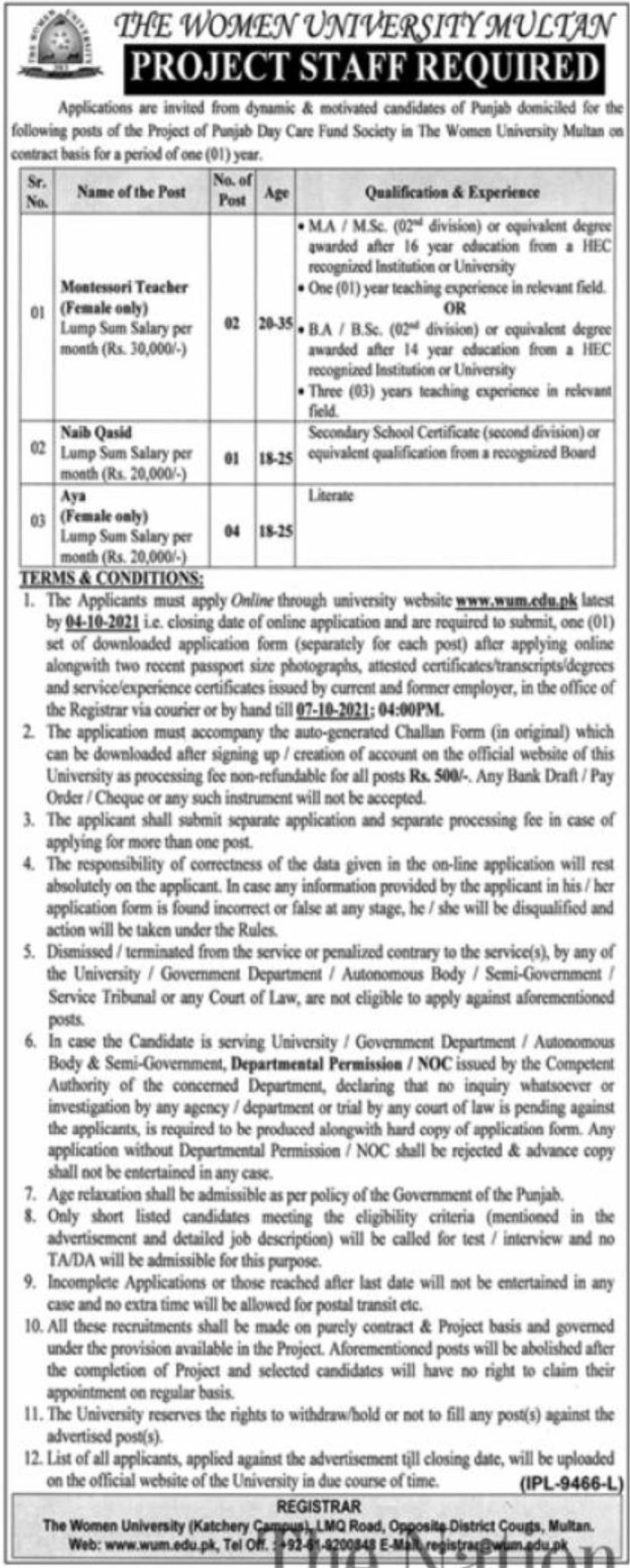 The Women University Multan Vacancies 2021 – Dailyjobs.pk 5