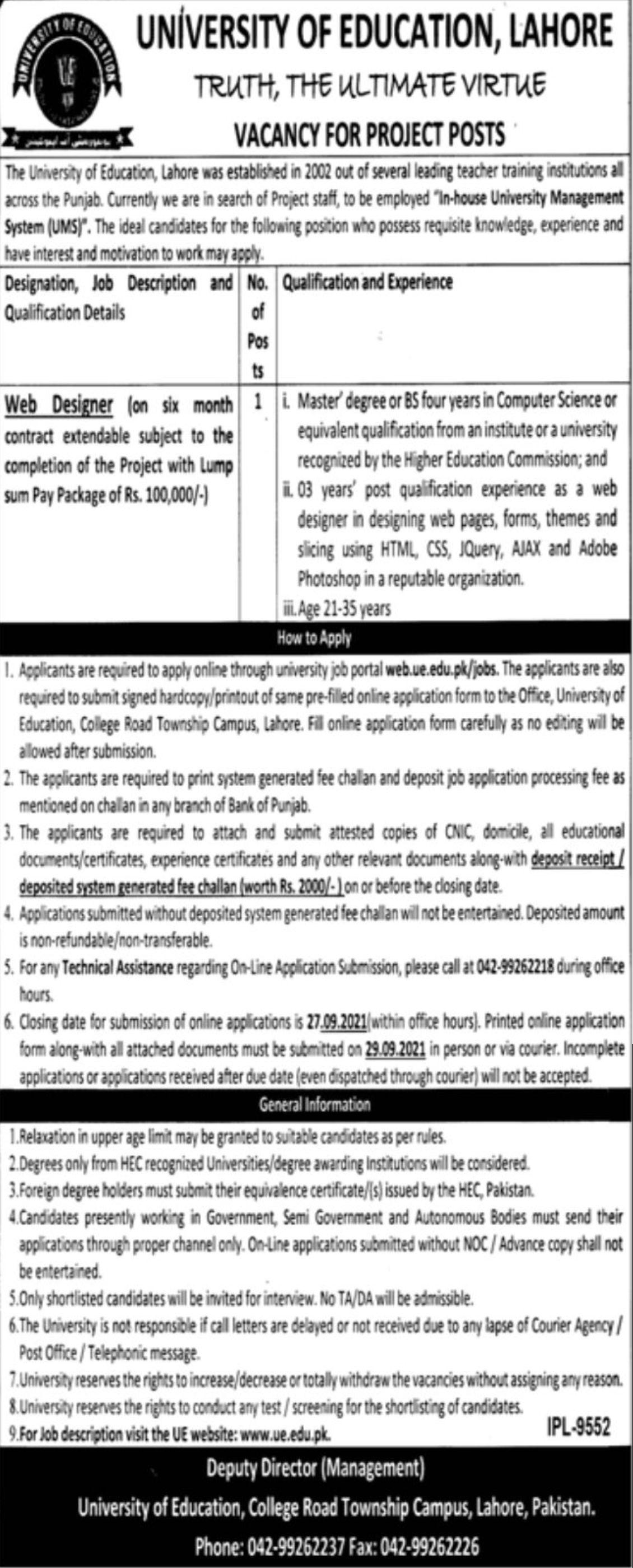 University of Education Lahore Vacancies 2021 – Dailyjobs.pk 3