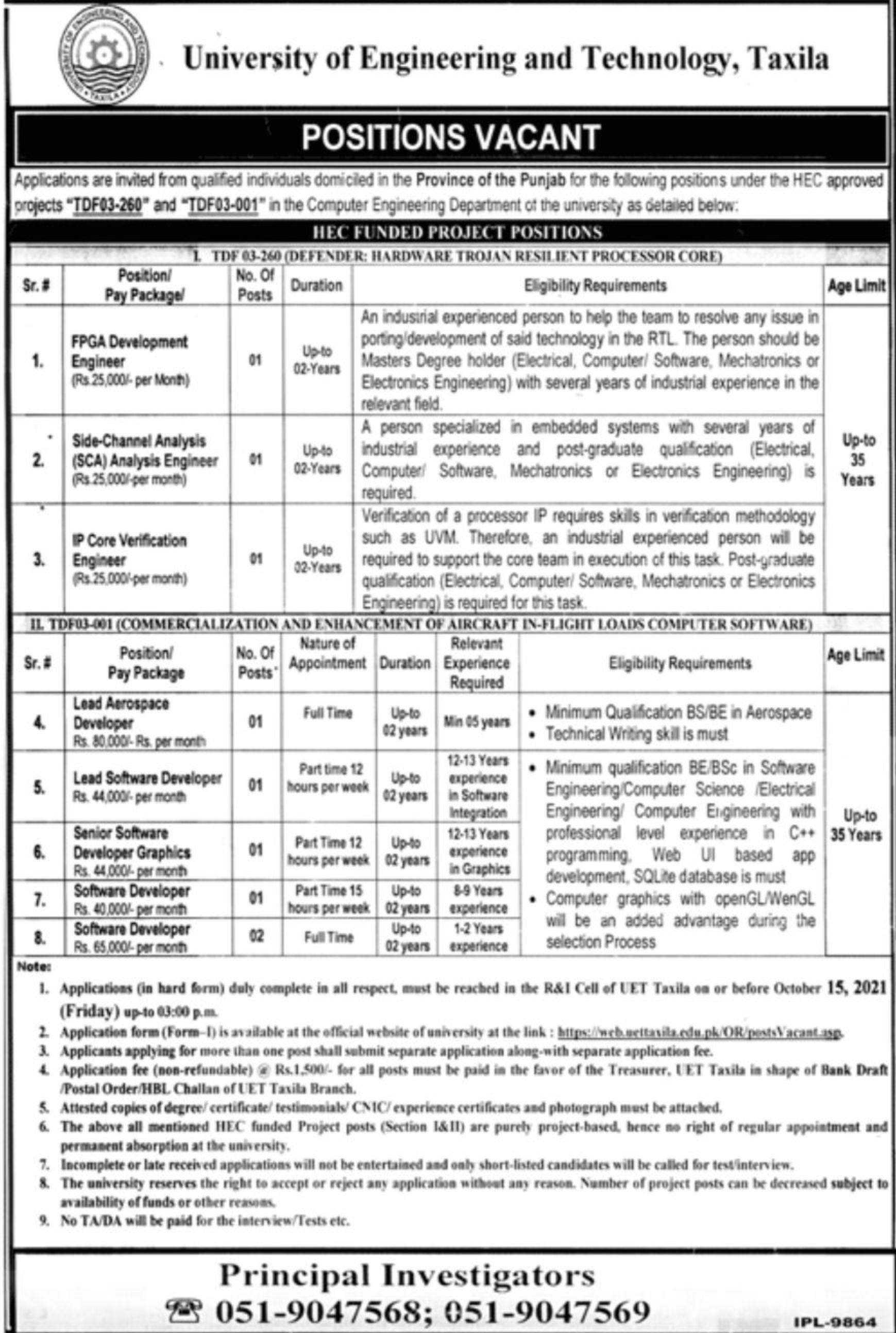 University of Engineering and Technology Taxila Vacancies 2021 – Latest Jobs 3