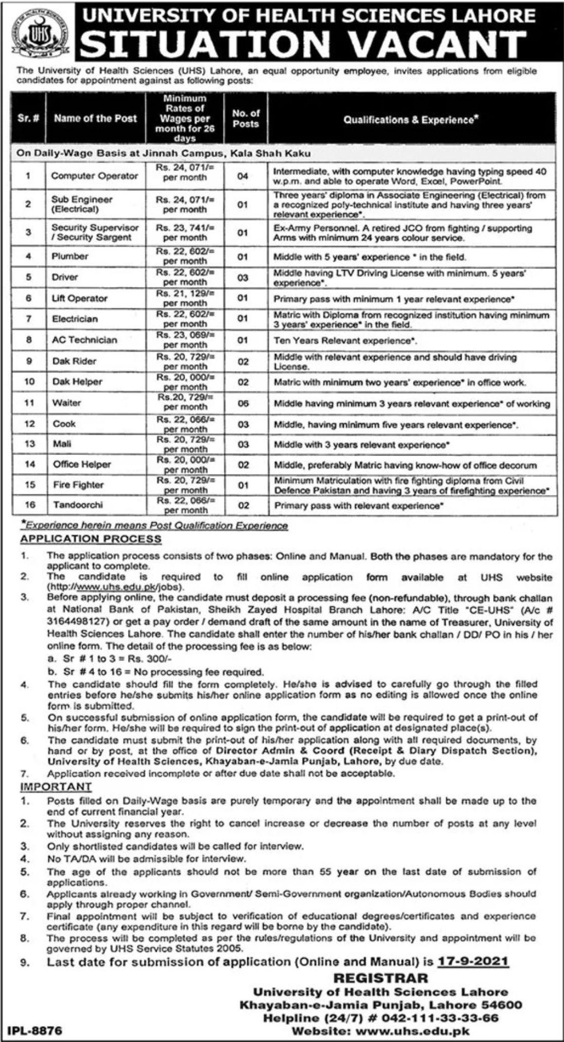 University of Health Sciences UHS Lahore Vacancies 2021 3