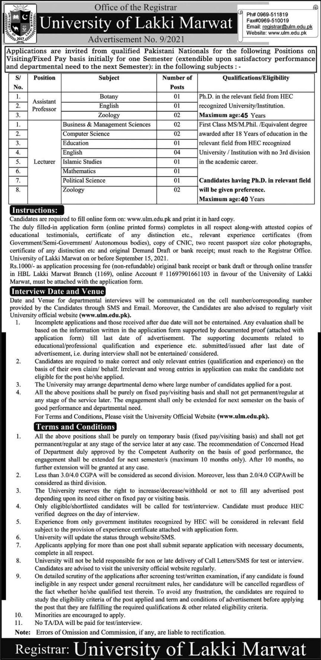 University of Lakki Marwat Vacancies 2021 3