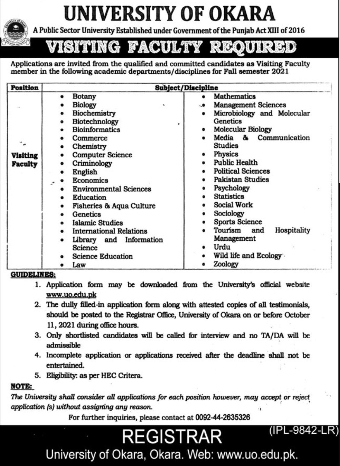 University of Okara Vacancies 2021 – Latest Jobs 3