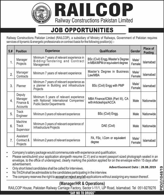 Railway Constructions Pakistan Limited (RAILCOP) Jobs 2019 For Project , Contracts Managers & More Posts